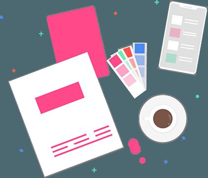 Design folders and coffee