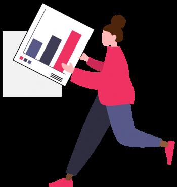 drawing of a girl bringing statistics